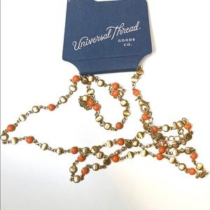 NWT! Universal thread orange and gold necklace